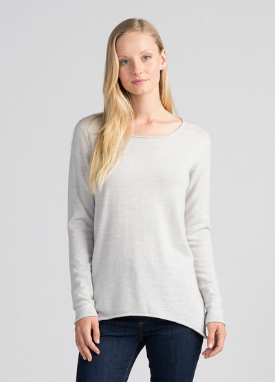 Womens Everyday Merino Crew - Light Silver-Untouched World-Te Huia New Zealand