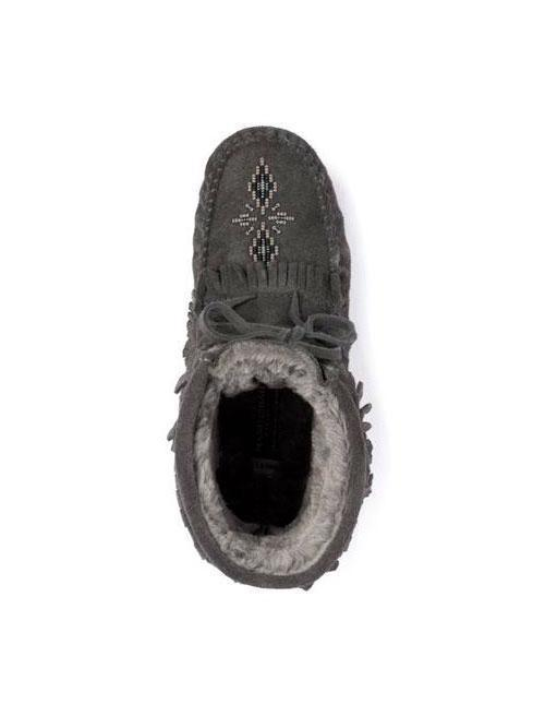 Womens Harvester Suede Lined Moccasin - Charcoal-Manitobah Mukluks-Te Huia New Zealand