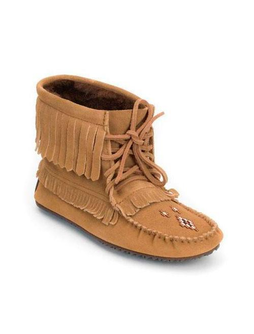Womens Harvester Suede Lined Moccasin - Oak-Manitobah Mukluks-Te Huia New Zealand
