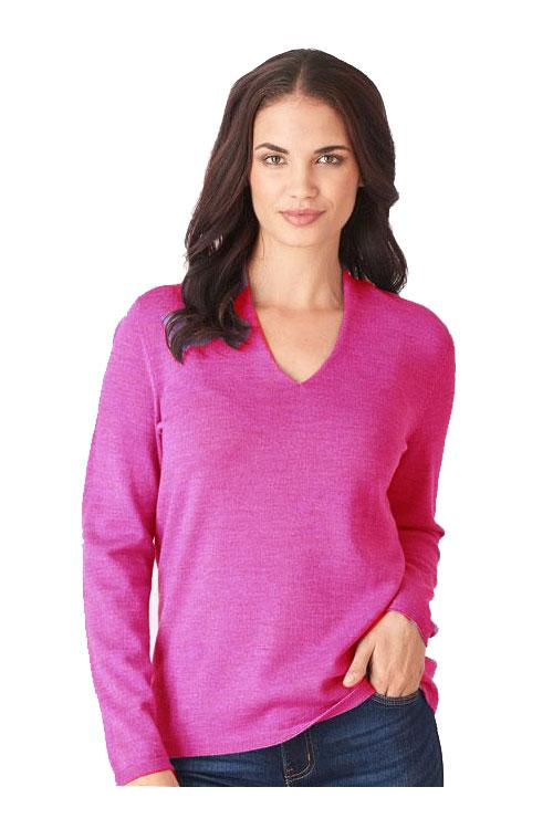 Womens High V Neck Sweater-Royal Merino-Te Huia New Zealand
