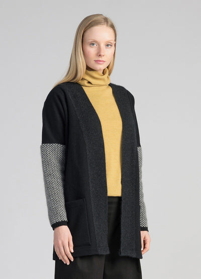 Womens Knit Weave Cardi - Black-Untouched World-Te Huia New Zealand