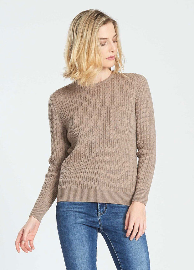 Womens LS Cable Crew Neck Sweater-Royal Merino-Te Huia New Zealand