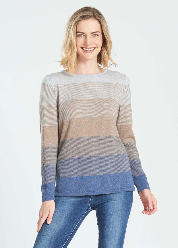 Womens LS Graduated Stripe Jumper-Royal Merino-Te Huia New Zealand