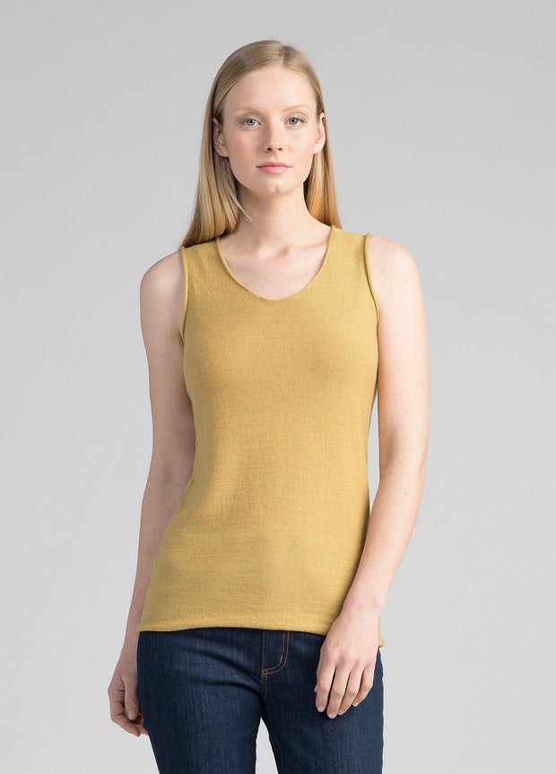 Womens Merino Knit Singlet - Dune-Untouched World-Te Huia New Zealand