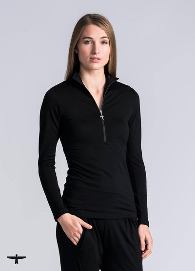 Womens Deep Zip Shirt-Untouched World-Te Huia New Zealand