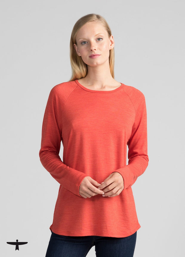 Womens Easy Merino Crew - Tangerine-Untouched World-Te Huia New Zealand