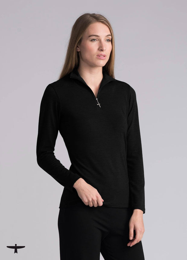 Womens Zip Shirt - Black-Untouched World-Te Huia New Zealand