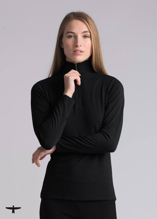 Womens Zip Shirt - Graphite-Untouched World-Te Huia New Zealand