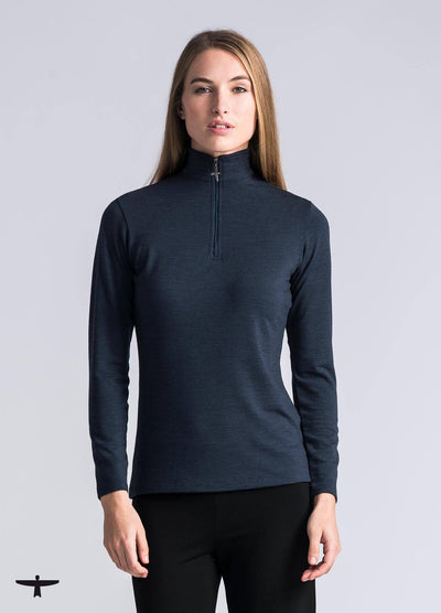 Womens Zip Shirt - Tasman Melange-Untouched World-Te Huia New Zealand