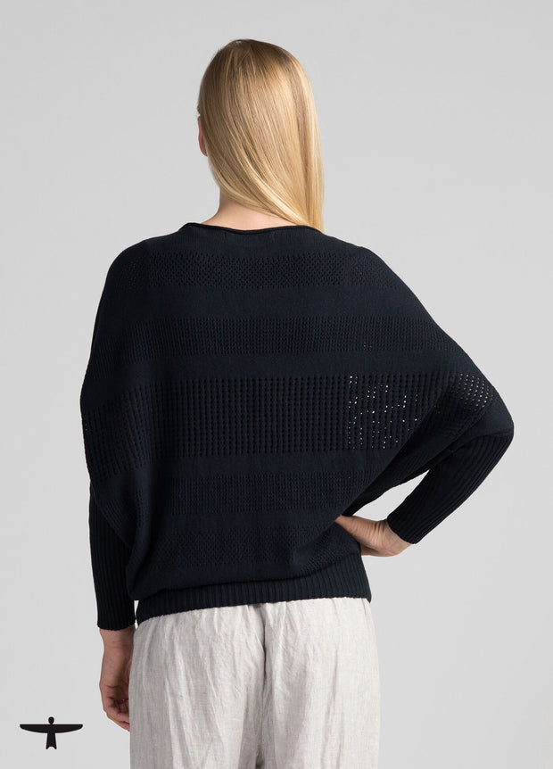 Womens Recycled Cotton Sweater - Navy-Untouched World-Te Huia New Zealand