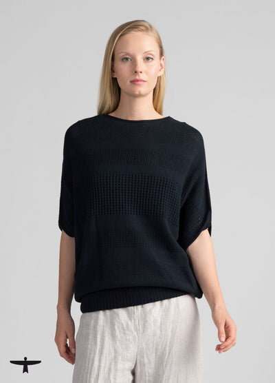 Womens Recycled Cotton Tee Sweater - Navy-Untouched World-Te Huia New Zealand