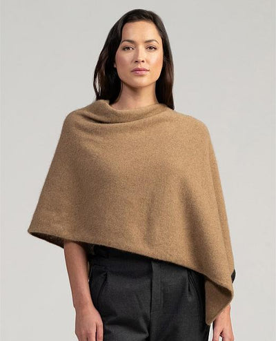 Womens Two Tone Poncho-Merinomink-Te Huia New Zealand