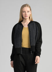 Womens Wave Knit Bomber Jacket - Black-Untouched World-Te Huia New Zealand