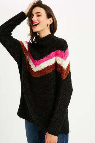 Chevron Turtle Neck Pullover