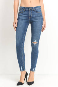 JUST BLACK DENIM- One knee distressed skinny
