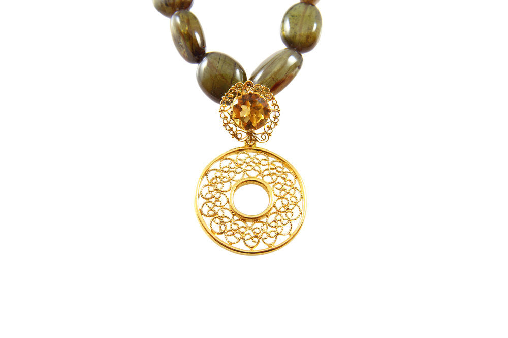 Kara dida golden topaz and andalusite golden topaz and andalusite gold filigree necklace aloadofball Images