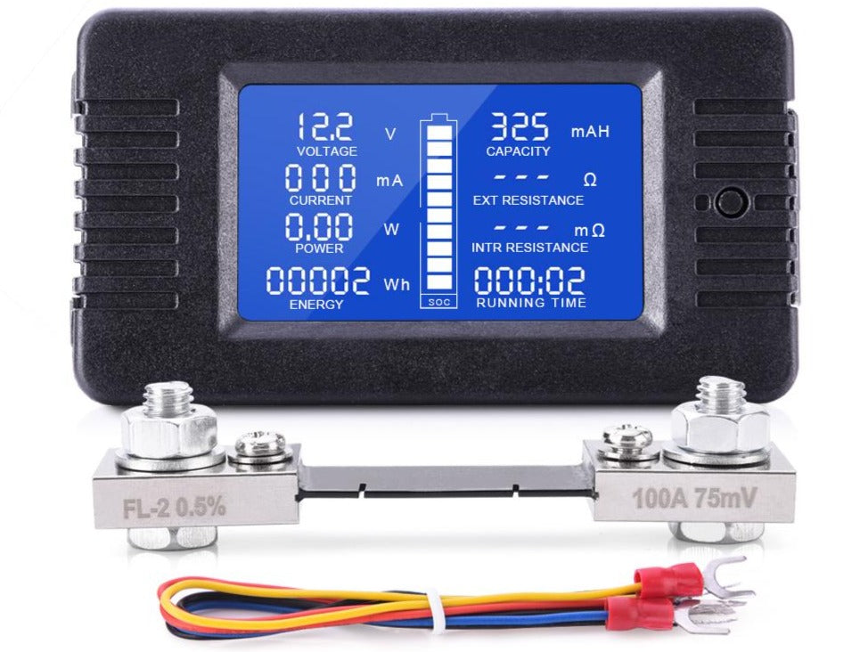 LCD Display DC Battery Monitor Meter 0-200V Voltmeter Ammeter with 9 Measurements AUSTRALIAN STOCK
