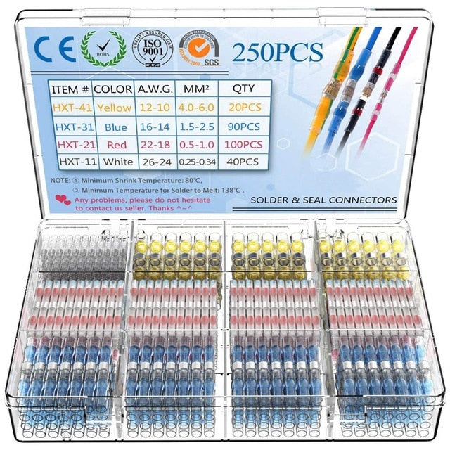 250Pcs Solder Seal Wire Connectors - Heat Shrink Solder Butt Connectors - Solder Connector Kit  AUSTRALIAN STOCK IMMEDIATE DESPATCH