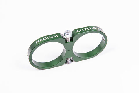 Radium Engineering 2-Piece Fuel Pump Clamp For Bosch 044 - Green W/ Logo For Nissan Skyline/Silvia/180SX