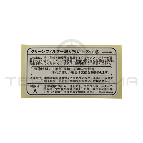 Nissan Skyline R34 GTR/GTT Heater & Blower Case Clean Filter Label Decal 8.2000-8.2002