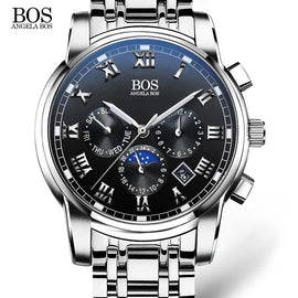 ANGELA BOS Date Week Month Sub Dial Work Waterproof Luminous Steel Mens Watches