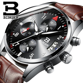 BINGER Brand Sport Men Watch Top Brand Luxury Male Leather Waterproof Chronograph Quartz Military Wrist Watch Men Clock Gift