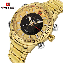 Luxury Brand Mens Sport Watch Gold Quartz Led Clock Men Waterproof Wrist Watch