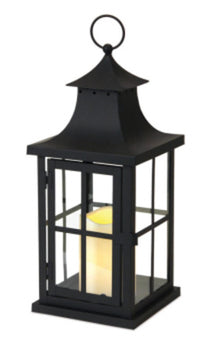 "14"" Asian Inspired Black Iron Lantern with LED Flameless Pillar Candle"