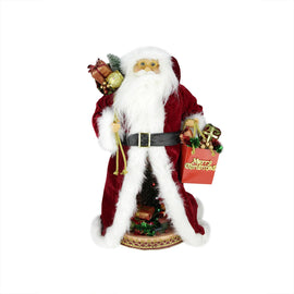 "20"" Battery Operated Musical Standing Santa Claus Figure with LED Lighted Christmas Scene"