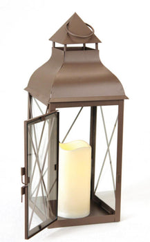"16.75"" Cottage Style Metallic Brown Lantern with Flameless LED Pillar Candle"