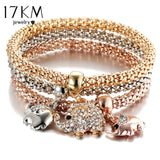 17KM New 3Pcs Gold Color Crystal Owl Charm Bracelets For Women Elephant Anchor Bracelet Multilayer Bangles pulseira feminina
