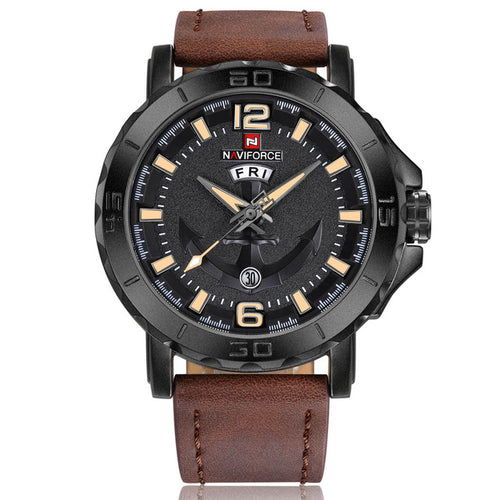 New NAVIFORCE Sport Quartz Watch Waterproof Mens Watches Top Brand Luxury Genuine Leather Date Week Clock relogio masculino
