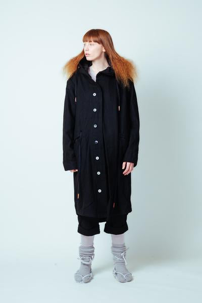 Lela Jacobs Worker Parker Wool Coat Black Japanese Cotton NZ Made NZ Designer