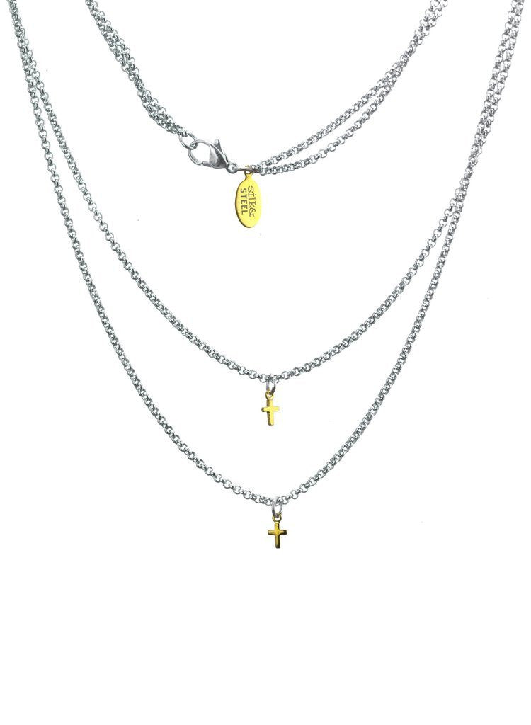 DOUBLE CROSSED NECKLACE - SILVER/GOLD