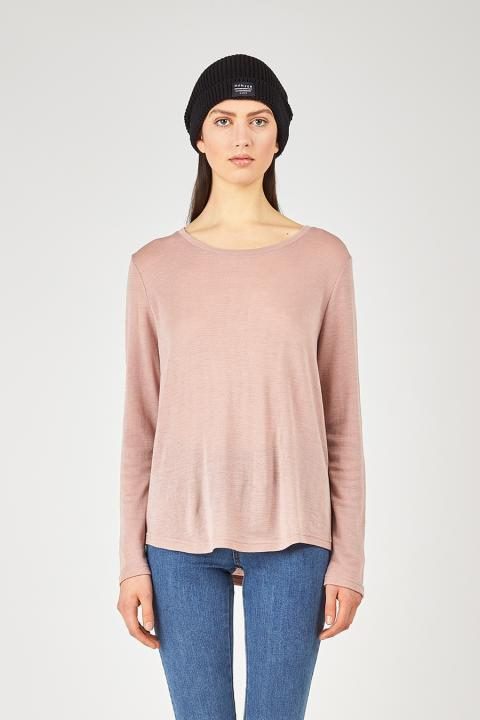 Huffer Merino ls avenue tee in Pink stockists nz designer clothing laybuy buy new zealand design laptop case shop online