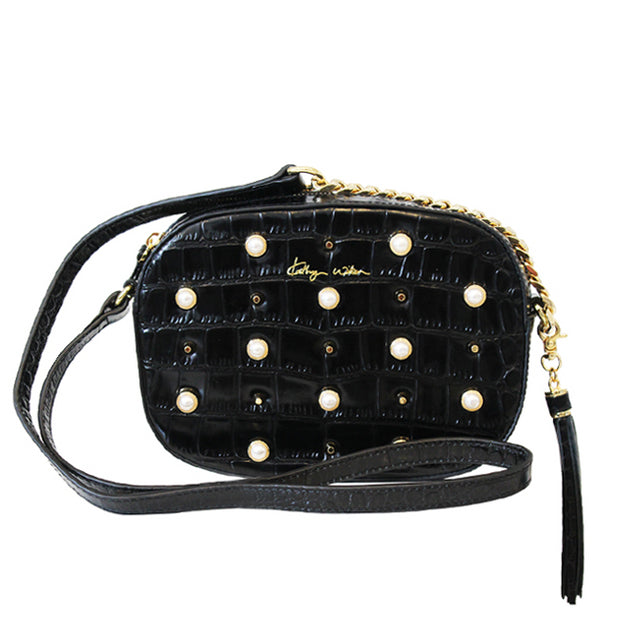 Take Me Out Black Croc Bag