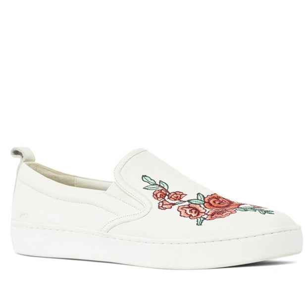 Kathryn Wilson Rhianna Slip on White Leather Rose Applique Buy New Zealand Designer Footwear