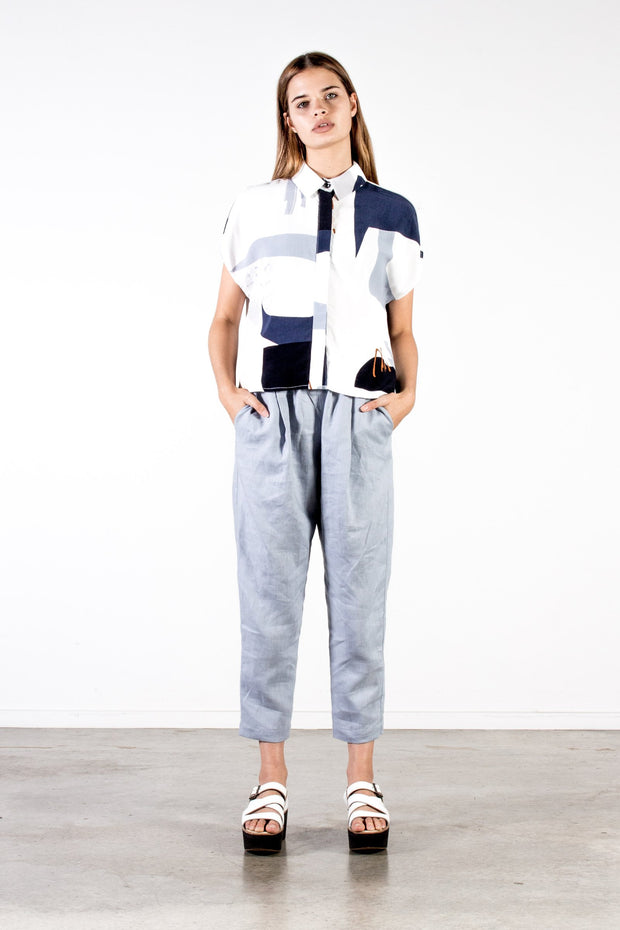 Nyne Lennox Pant Woven Linen in Dust Blue Summer Season New Zealand Designer Fashion NZ Made Wool weave yne stockists auckland parnell online