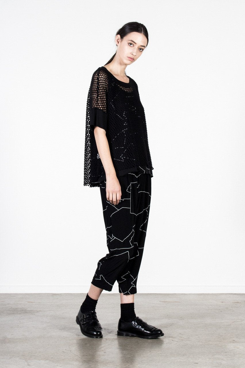 Kimiko Mesh Top Nyne Black White Stockists Online Auckland Parnell NZ Designer New Zealand Made