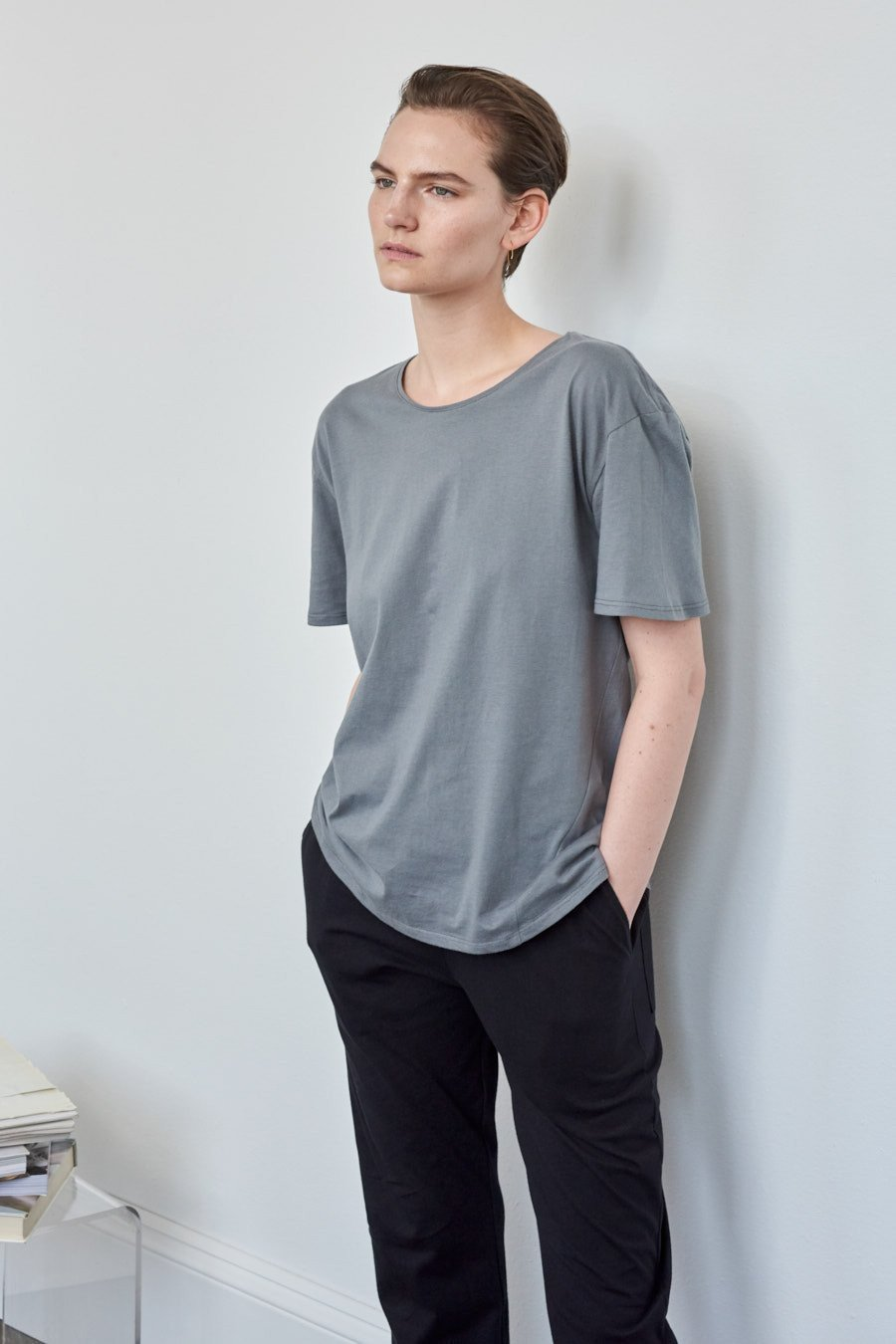Kowtow building block crew neck tee dove grey organic fairtrade cotton parnell auckland stockists nz designer