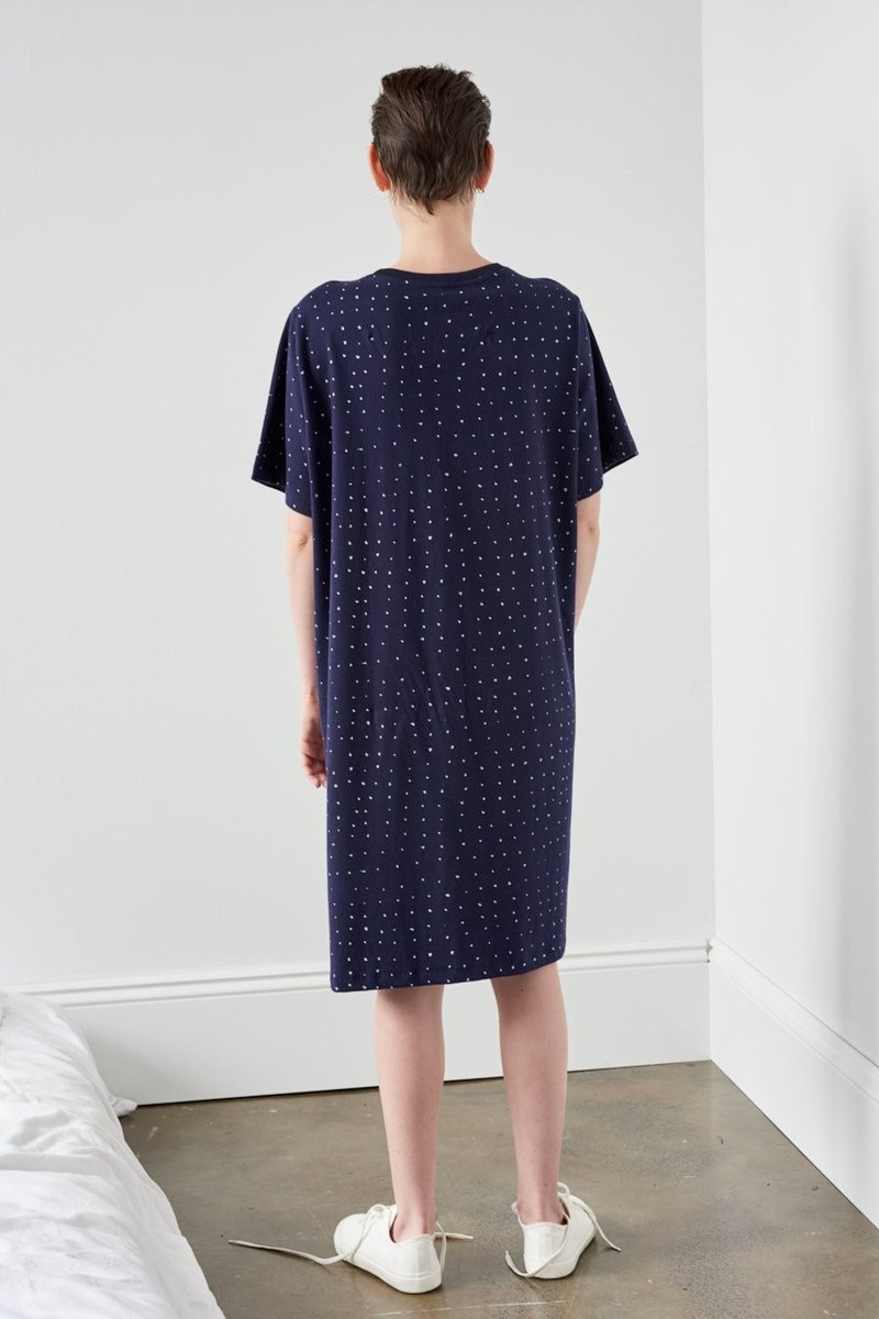 Kowtow stockists building block dot dress navy white Organic Fairtrade Ethical