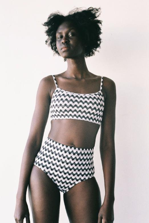 Mikka Brief Lonely Swimwear Black and White Zig Zag Gingham High waisted togs lonely girls stockists auckland shop online buy nz designer clothing