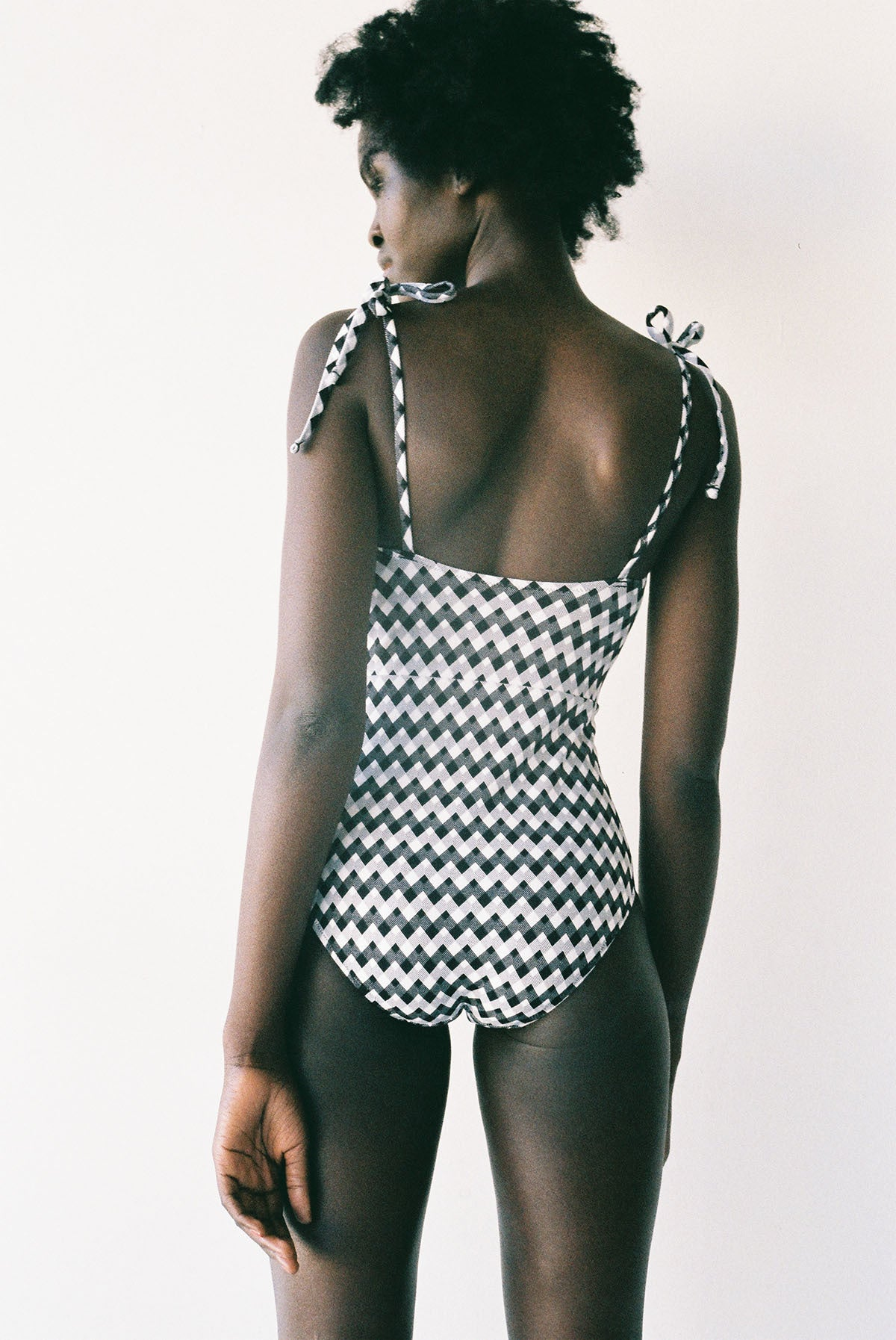 Doris Gingham Zig Zag black and white Swimsuit onepiece Lonely Swimwear Black and White Zig Zag Gingham High waisted togs lonely girls stockists auckland shop online buy nz designer clothing