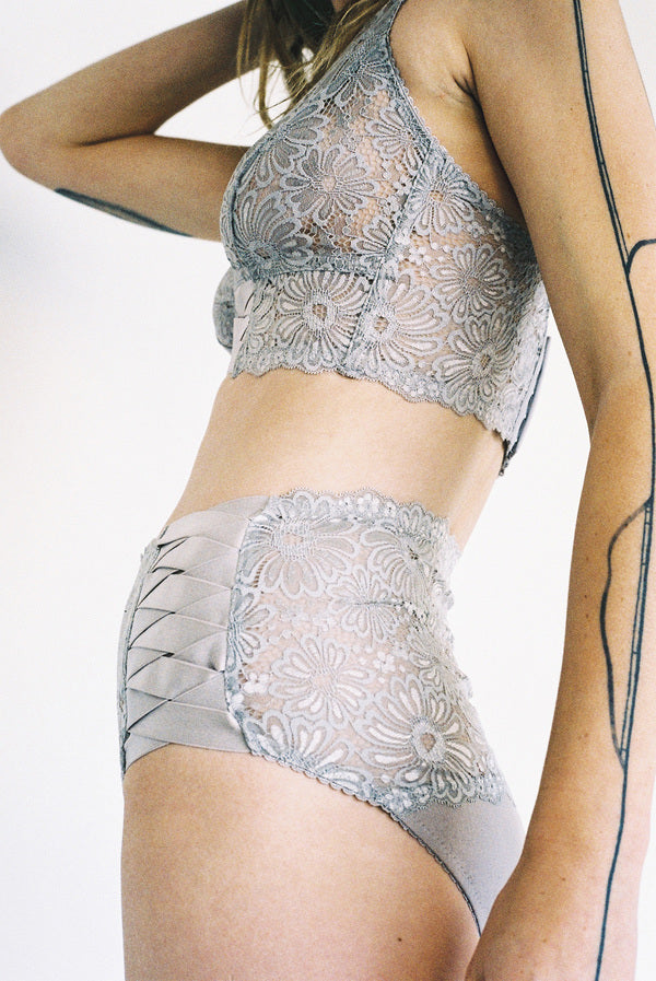 Patsy Midline Bra Pebble Grey Lace Lonely Lingerie Stockists Auckland Parnell Shop Online NZ Designer Clothing