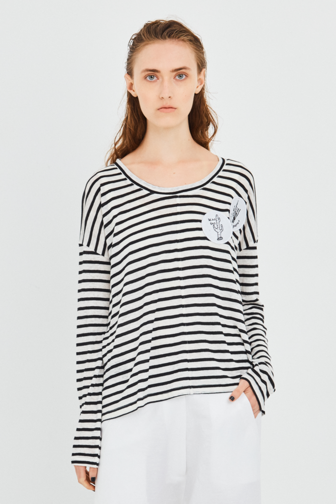 felicity tee stripe patches salasai stockists nz parnell auckland buy online cotton