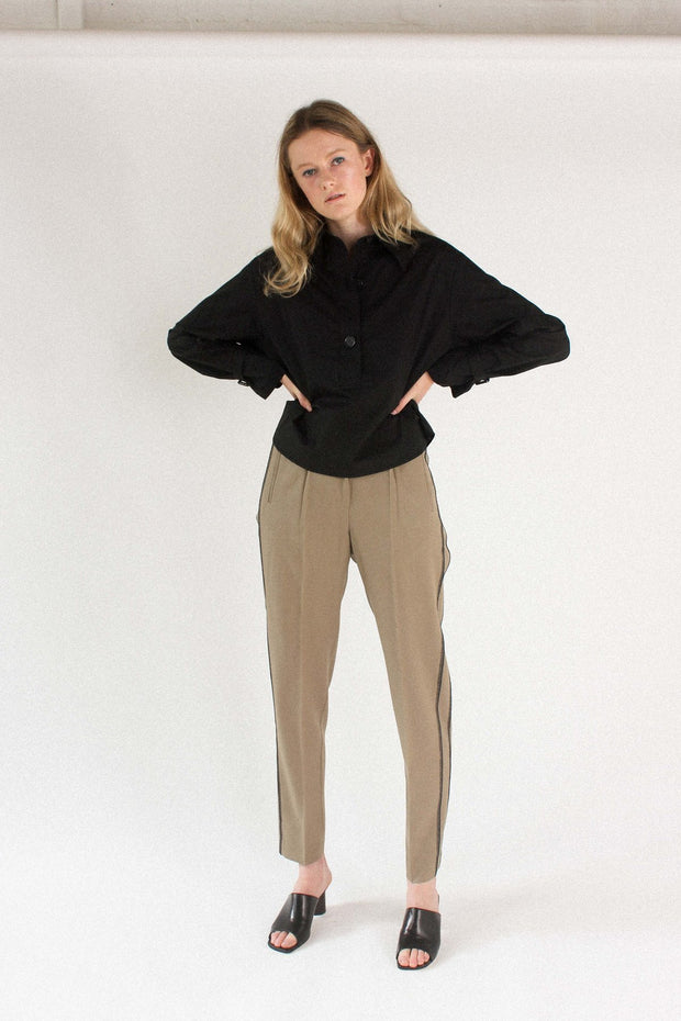 Wynn Hamlyn Stockists Agent Trouser Taupe Wool NZ Made NZ Designer