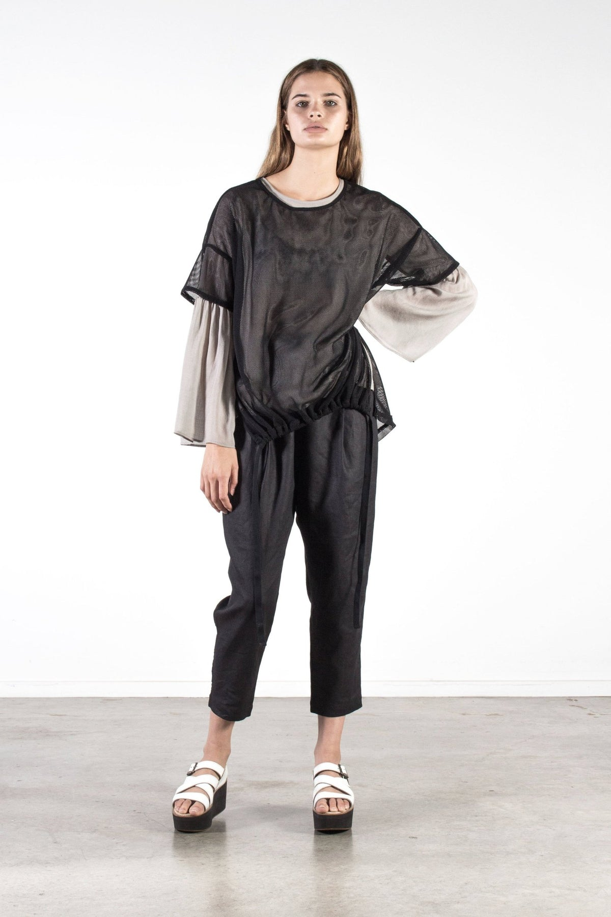 Nyne Siena Top in Ash Gauze Summer Season New Zealand Designer Fashion NZ Made Wool weave yne stockists auckland parnell online