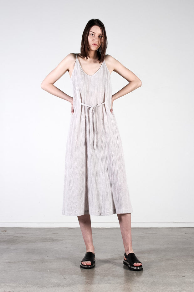 Nyne Tova Tie Dress Silver Gauze Summer Season New Zealand Designer Fashion NZ Made Wool weave yne stockists auckland parnell online
