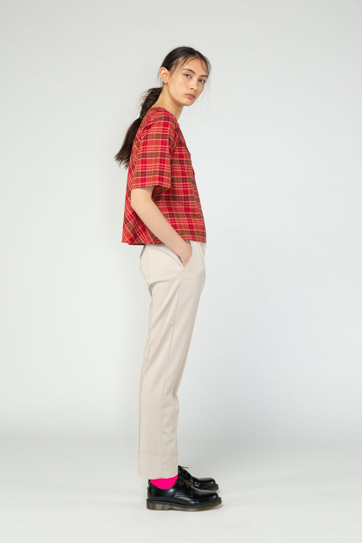 Dissection top Nom*d shop now check NZ made New Zealand made NZ designer ethical clothing red checkered