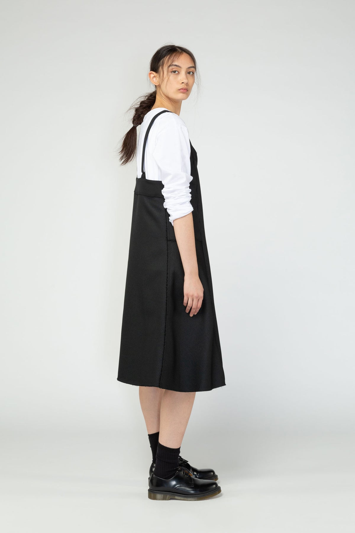 Turnover pinafore nom*d Black NZ made NZ designer clothing ethical fashion New season